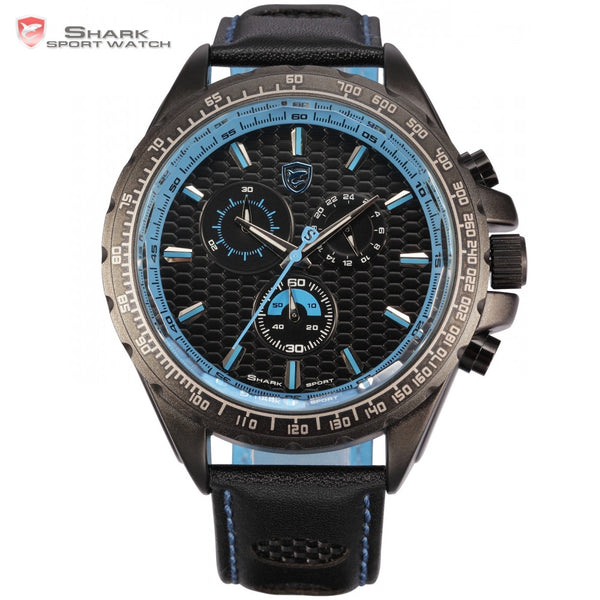 New Shark Sport Watch Male Outdoor 6 Hands Black Blue Chronograph Cool Watch Japan Quartz Wrap Men Casual Wristwatch / SH194