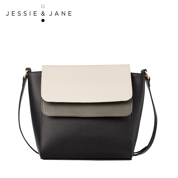 JessieJane Women Messenger bags Designer Brand Panelled Genuine Leather Shoulder bags Jessie Style 13208