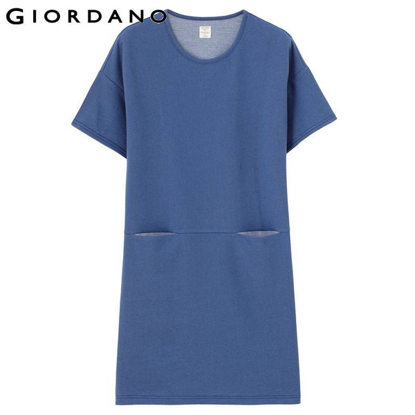 Giordano Women Sweat Dress Short Sleeves Blue Dresses Roupa Femmina O-neck Ladies Brand Online Clothing Korean Style