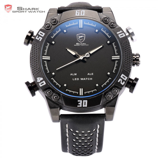 Shark Sport Watch Black White Stainless Steel Auto Date Alarm Leather Band Quartz Male Clock Outdoor Mens Digital Watches /SH264