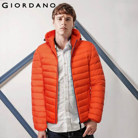 Giordano Men Down-Jacket Winter Warm Outdoor Puffer Ultralight Coat Casual and Fashion Contrast Zip 90% White Duck Down