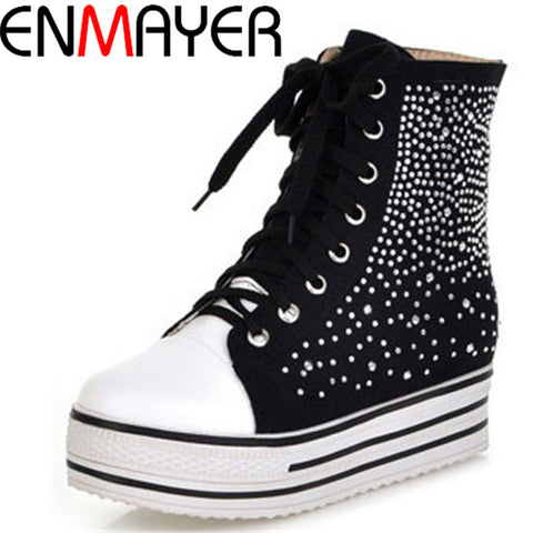 ENMAYER 2013 new fashion ladies casual flat shoes black white lace rhinestone shoes sneakers shopping trip