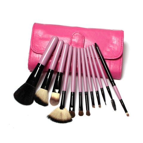 12 pcs Goat Hair Make Up Brush Set In Two style Leather Bag, Big Sale