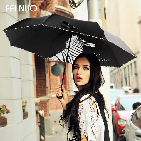 Fashion Brand zebra vinyl anti-uv women rain black umbrella 3 folding  female umbrellas parasol