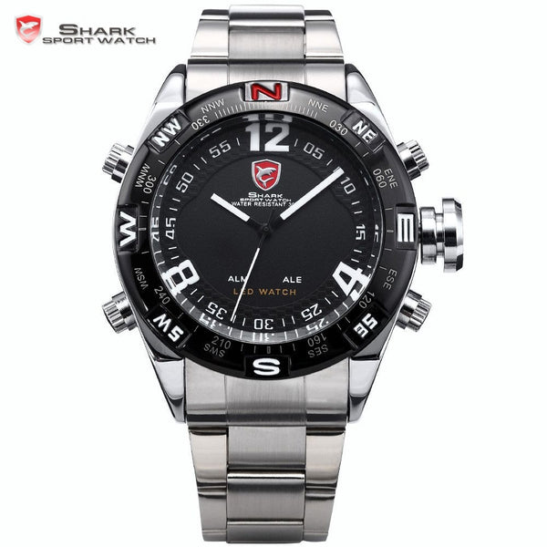 Bullhead SHARK Sport Watch Silver Black Stainless Steel Band LED Date Alarm Function Mens Analog Quartz Wristwatch Gift / SH102