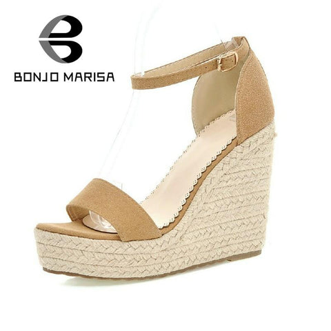 2016 big sale high wedges buckle strap women dating sandals elegant thick platform peep toe comfortable shoes more colors