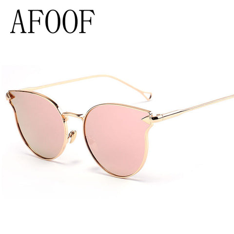 AFOOF 2016 Fashion Cat Eye Meatl Frame Sunglasses Brand Designer High Quality Alloy Legs Women Sun Glasses UV400 Oculos de sol