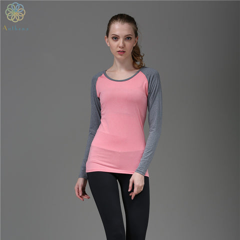 2016 Women Anti-Wrinkle Sports Tops Tees Running Long Sleeved T-Shirt Fitness Yoga Gym Sweatshirt Girl Cat Clothing Blue/Pink