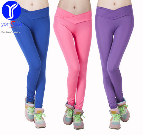 2015 new brand candy color women's leggings close-dress jogging tights yoga capris pants fitness running casual sports vestidos