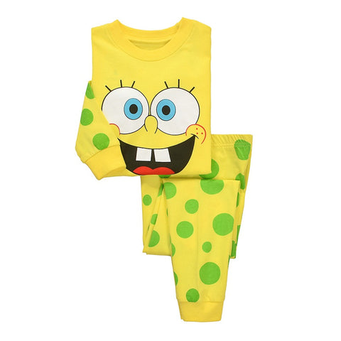 Milan Creations Girls Clothes Christmas Pajamas 2015 Winter Kids Tracksuits Boys Clothing Spongebob Children Clothing Sets