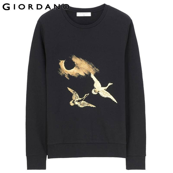 Giordano Men Long Sleeve Pullover Sports Chinese Graphic Sweatshirts Casual Sudaderas Hombre Golden Pullovers Man