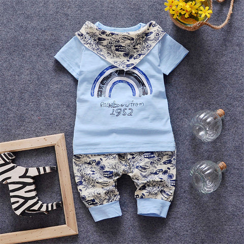 3 in 1 Baby Boys Sets T-shirt + Pant + Scarf 2016 Summer Brand Rainbow Printed 2-5Y Kids Casual Clothes Sets Toddler Clothing