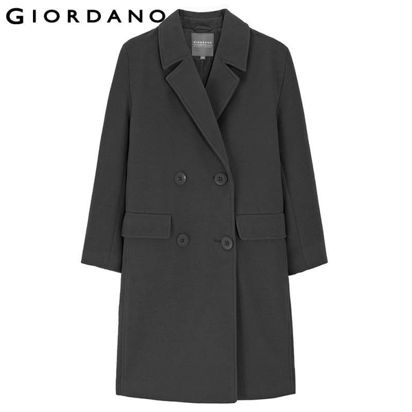 Giordano Women Double-Breasted Coat Womens Quality Outerwear Ladies Warm Coats Long Topcoat for Woman Abrigos Mujer