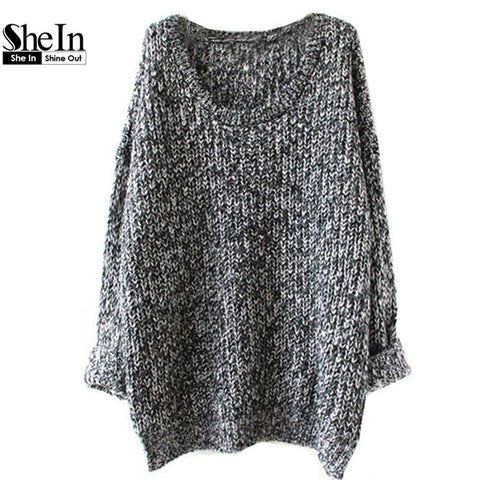 Autumn Casual Hot Sale Knit Pullovers 2014 New Fashion Women's Grey Long Sleeve Round Neck Loose Sweater