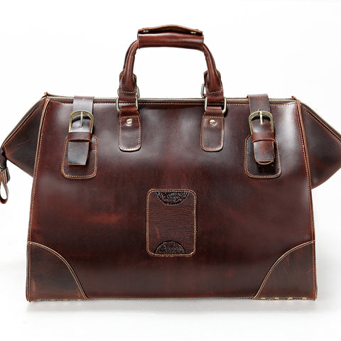 Large capacity fashion brief genuine leather men travel bag 7077R  Tote  luggage Bag Crazy Horse Leather Unisex coffer  Leather