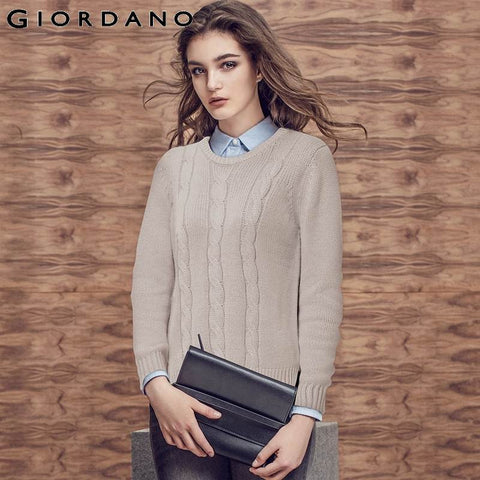 Giordano Women Cable Knitting Sweater Womens Solid Knitted Jumpers Sweaters for Woman Brand Winter Clothing Women Pull Femme