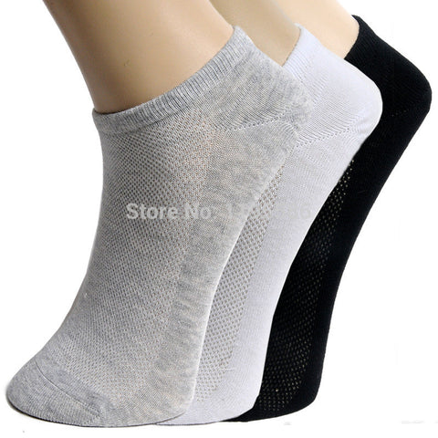 Men's ankle Socks Summer Mesh Breathable Sport thin Cotton Boat Socks For Male Solid White Color Sock Slippers 20pcs=10pairs/lot