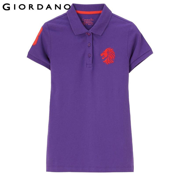 Giordano Women Summer Style Embroidered Graphic Polo Short Sleeve Female Polos Sport Womens Polo Shirts Camisa Polo Feminina
