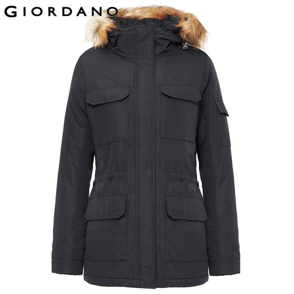 Giordano Women Fur-Trim Hooded Coat Mid-Long Quilted Jacket for Women Warm Jackets and Coats Female Outdoor Womens Parka Coat