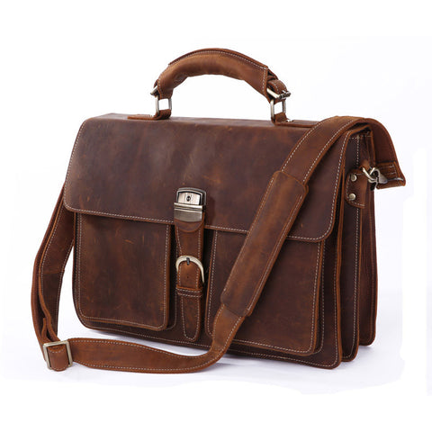2013 NEW Wholesale Horse Leather Men's Brown Briefcases Tote Bag Crossbody Messenger Laptop Bag Hot Selling Crazy horse leather