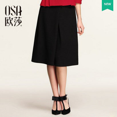 OSA 2015 Spring New Arrivals Solid Saias Femininas High Waist A-line Skirt  Vintage Knee-Length Skirt Women Plus Size  SQ527004