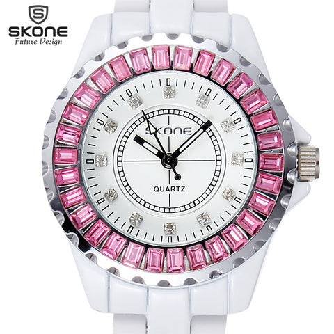 Brand 2014 Rhinestones Watch Ceramic Watches Gear Alloy Quartz Watches Lady  Watch Women Wristwatches.