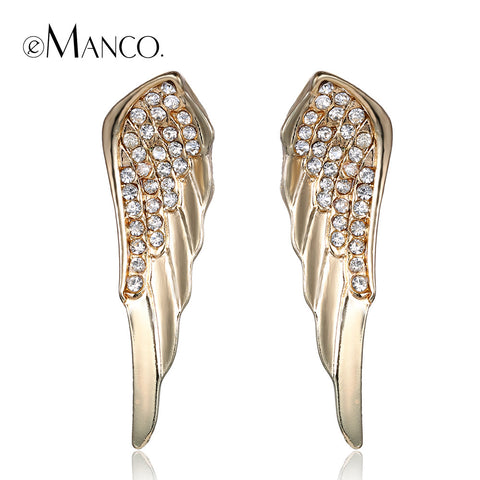 //Angel wing feather earrings rhinestone earrings// gold alloy earring gold plating jewelry fashion jewlery 2015 eManco ER04542