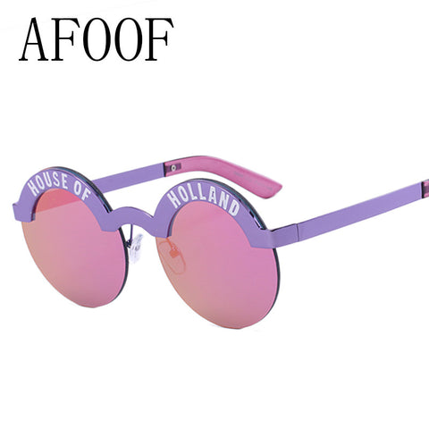 AFOOF 2016 Fashion Sunglasses Brand Design Vintage Round Sunglass High Quality Women Eyebrows Frame Sun glsaaes Oculos UV400