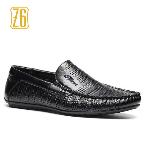 2016 New Men Summer Shoes, Z6 Brand breathable soft driving handmade hole men leather shoes #9562