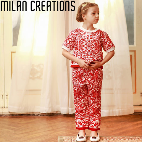 Milan Creations Girl Clothing Set Children Winter Suits for Girls Clothes 2015 Brand Kids Tracksuit Girls Sets (Tops+Pants)