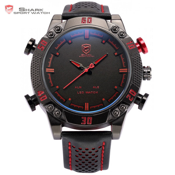 Shark Sport Watch Luxury Brand Quartz Analog LED Digital Date Day Black Red Dial Leather Band Alarm Military Men Watches / SH261