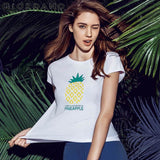 Giordano Women Tee Print Short Sleeves Graphic Summer Pineapple Tops Style Womens Branded Clothing T-shirt Vetement Femme