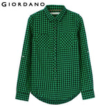 Giordano Women Brand Plaid Flannel Roll-up Sleeves Blouse Female Comfortable Shirt Checkered Blouses Camisas Femininas