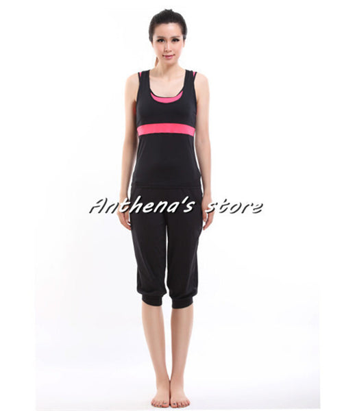 2015 top quality women's Aerobics Top + Pants sets tights dresses suits fitness sports running double-deck vest t shirt leggings