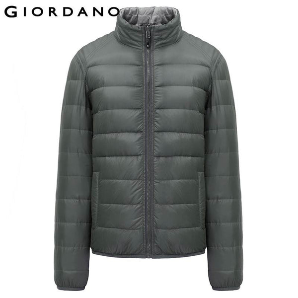 Giordano Men Reversible Winter Down Jacket Double Side Wearable Outerwear Men 90% White Duck Down Windbreaker Male