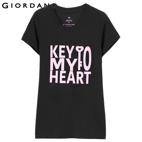 Giordano Women Crewneck Tee Short Sleeves Letter Print Cotton Tops Casual Wear Tracksuit Womens Mujer Camisetas Femme