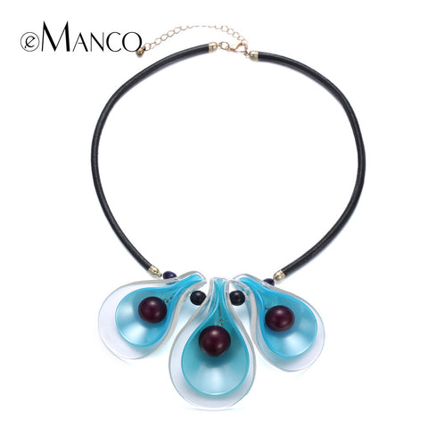 //Blue acrylic flower pendant resin necklace bead// black leather cord necklace women trendy summer jewelry 2015 eManco NL13268