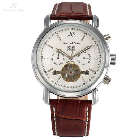Classic KS Day Date Display Calendar Automatic Waterproof Tourbillon Brown Leather Strap Analog Men's Mechanical Watch / KS004