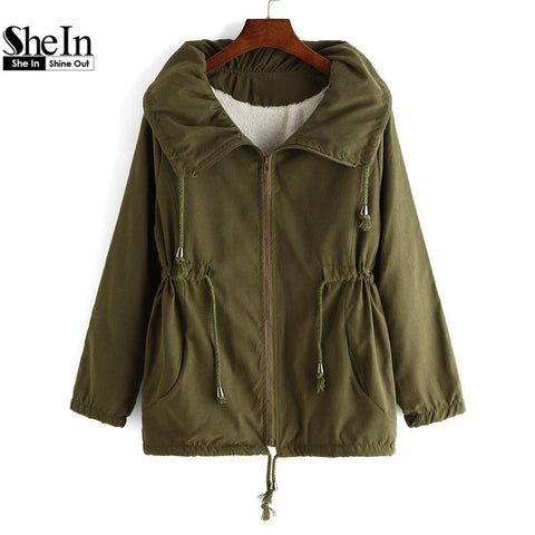 2016 Female New Arrival Brand Autumn Women's Korean Style Designers Ladies Army Green Lapel Pockets Drawstring Loose Coat