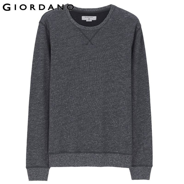 Giordano Men Crewneck Sweatshirt Soft Cotton Solid Pullover Jersey Tracksuit Long Sleeved Homme Marque Survetement