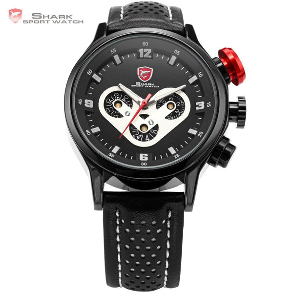 Brand Mens SHARK Sport Watch Date Day Racing Dashboard Steel Case Leather Strap Black Wrap Tag Sports Quartz Watches Gift /SH088
