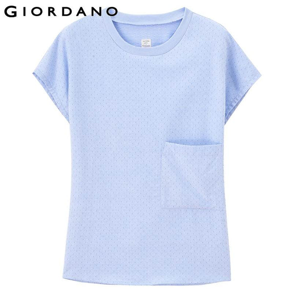 Giordano Women Blouse Short Sleeves O-neck Oxford Tops Pure Cotton Summer Clothes Branded Woman Plus Size Casual Chemisier