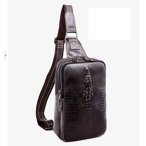 100% First layer cowhide leather men messenger bags New fashion crocodile leisure men's chest bag leather oil wax shoulder bags