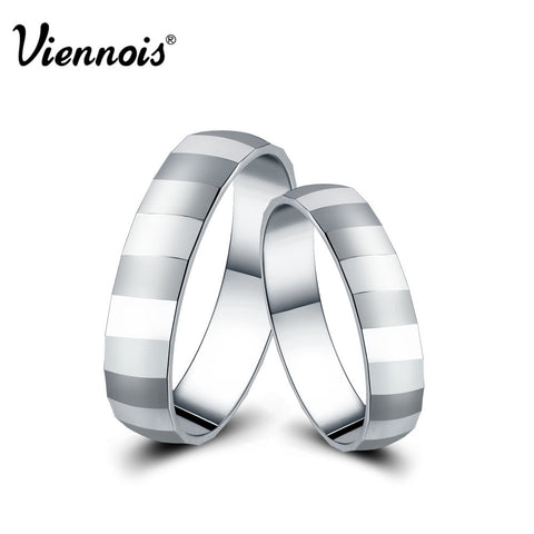 Viennois New 925 Sterling Silver Couple Ring Jewelry Stripe Wedding Engagement Rings Rings for Women Men Valentine's Day Gift