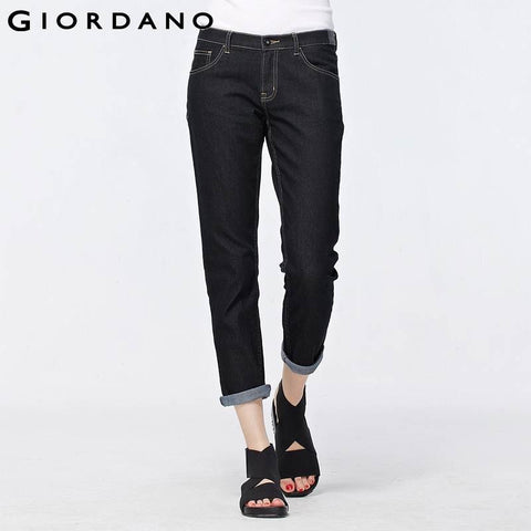 Giordano Women Jeans Boyfriend Style Ankle Denim Pants Ladies Jeans Pantalones Baqueros Five Pocket Fine Trousers Denims