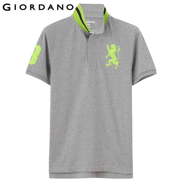 Giordano Men Polo Solid Stand Collar Short Sleeves Polos Lion Cotton Pique Tops Summer Mens Clothing Brand Camiseta