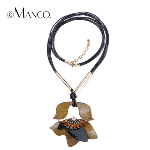 //Acrylic pendant leather chain necklace black // hot sale new 2015 europe and the united summer women crystal jewelry eManco
