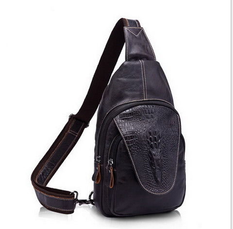 100% Genuine leather men bag Crossbody Bags Crocodile sports bags man shoulder Packs Hot Sold vintage Men Messenger Bag 2015 new