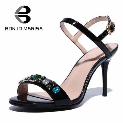 2016 Factory Parallel Rhinestones High Heels Buckle Strap Less Platform Women's Shoes Vintage Thin Heels Solid Strap Sandals