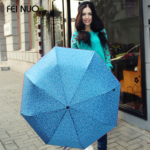 Fashion 3 folding princess anti-uv umbrella sunshade little stars women rain umbrellas guarda chuva